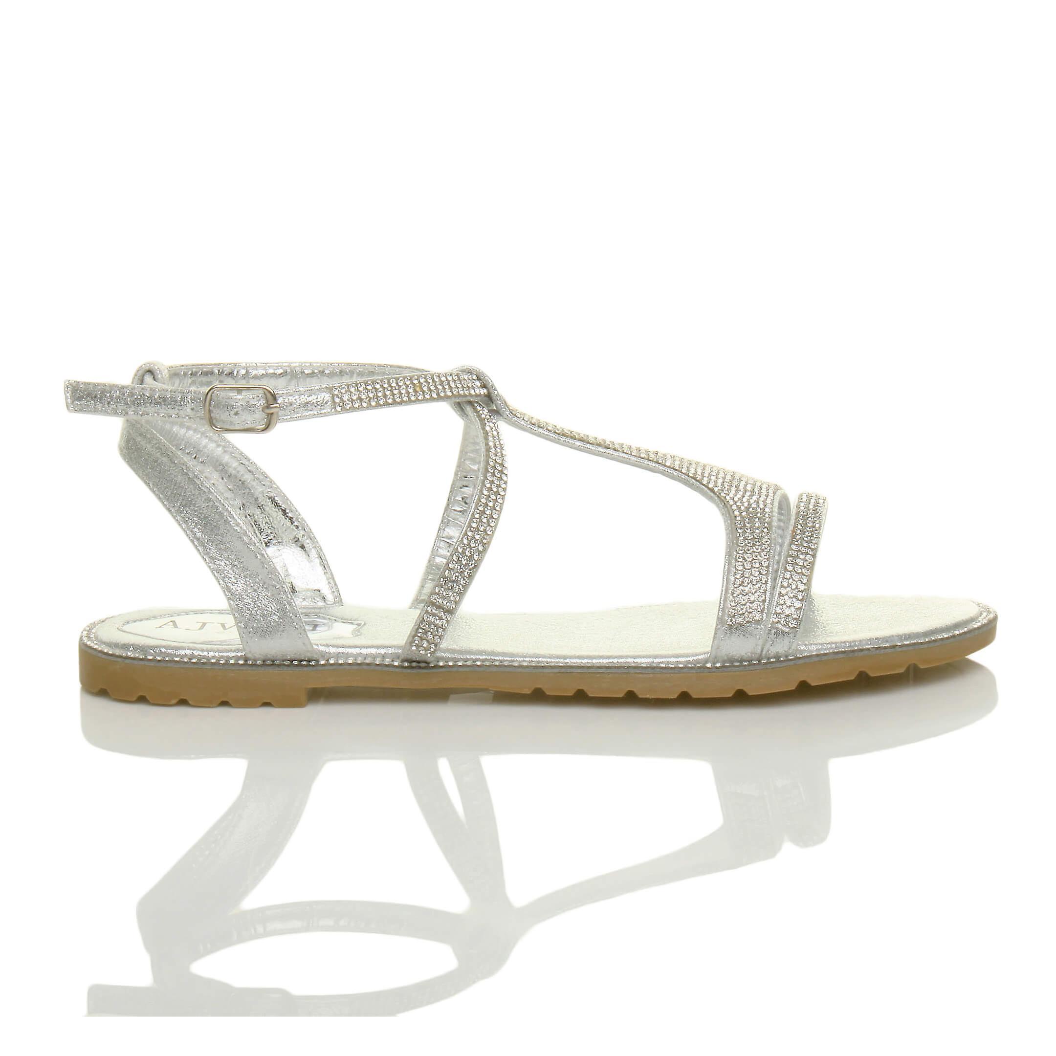Ajvani Womens Flat Strappy T-bar Summer Evening Diamante Sandals