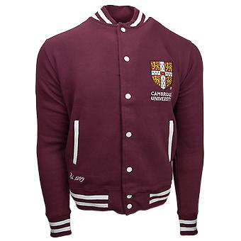 Cu170 licensed cambridge university unisex varsity jacket maroon colour