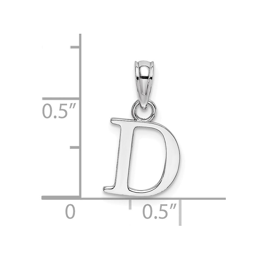 10k White Gold D Block Letter Name Personalized Monogram Initial High Polish Charm Pendant Necklace Jewelry Gifts for Wo