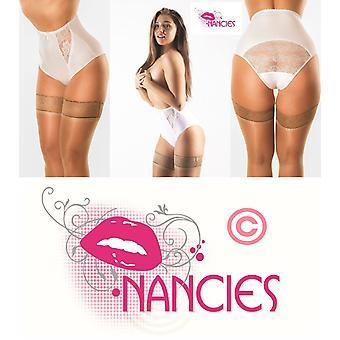 Nancies Lencería 'Elegante' Blanco De cintura alta satinado Sheen Lace Pantalones de encaje