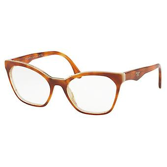Prada VPR09U 7TH1O1 Light Havana-Striped White Glasses
