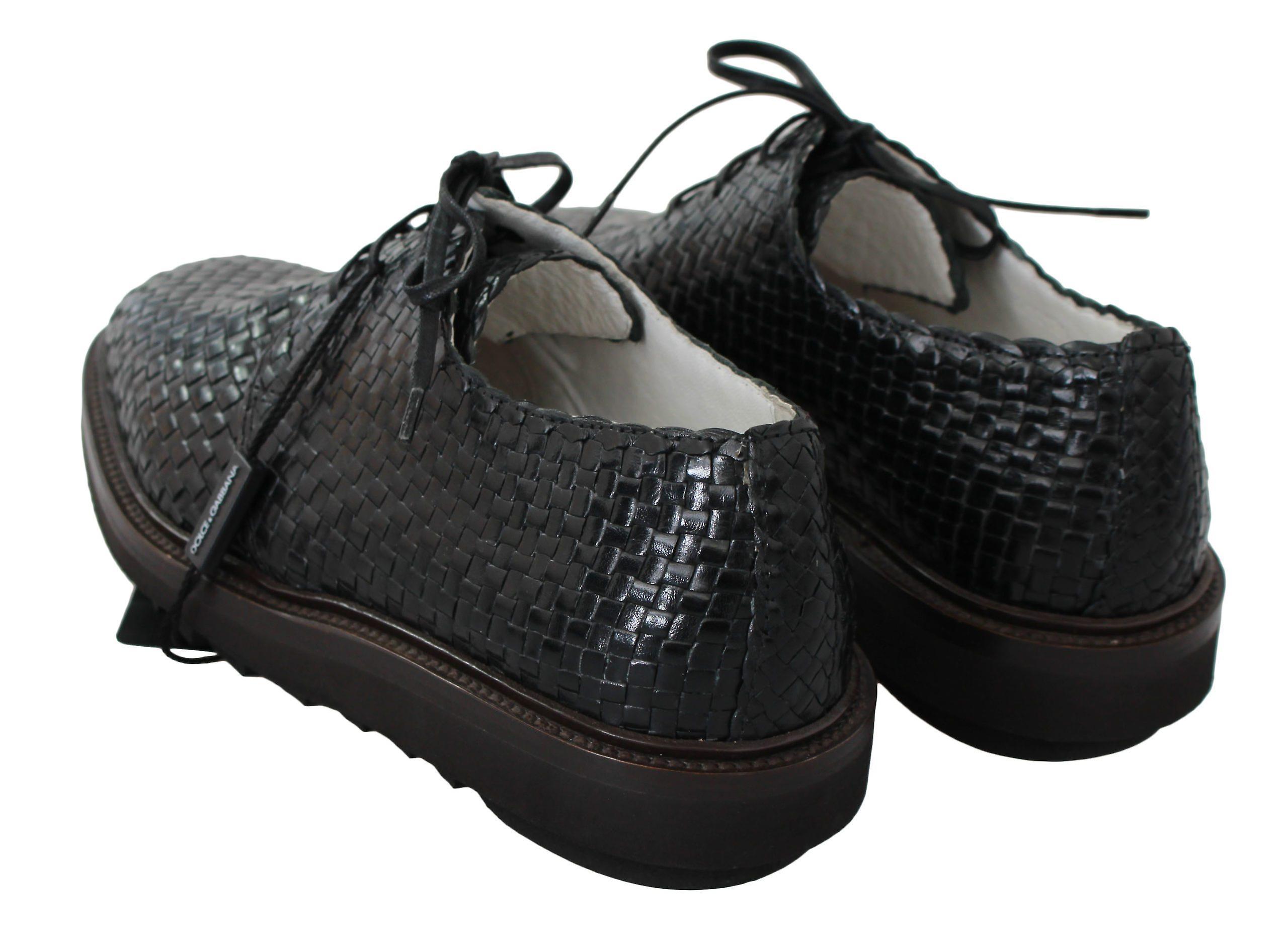 Dolce & Gabbana Black Woven Knit Leather Derby Shoes Mv2506-39