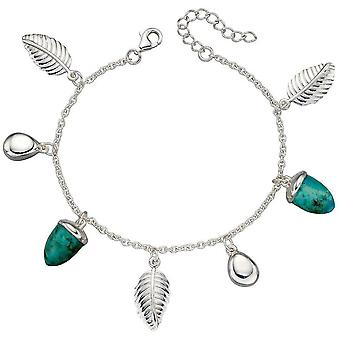Elements Silver Acorn and Leaf Bracelet - Silver/Turquoise