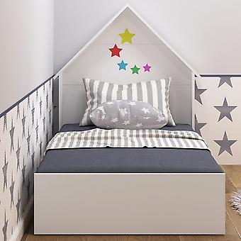 Letto Capella Montessori Colore Bianco in Truciolare Melaminico, Letto L95xP200xA35 cm, Testiera Letto L95xP15xA120 cm