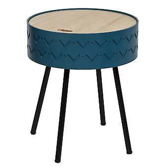 Salontafel' Funny Color Blue, Wood, Iron Black, MDF, Wood 38x38x45 cm