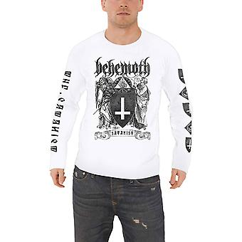 Behemoth T Shirt The Satanist band Logo new Official Mens White Long Sleeve