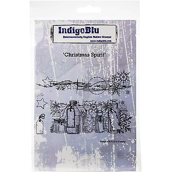 "IndigoBlu Cling Mounted Stamp 5""X4""-Christmas Spirit"