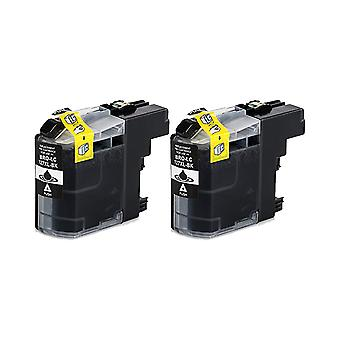 RudyTwos 2x Replacement for Brother LC-127XLBK Ink Unit Black Compatible with DCP-J132W, DCP-J152W, DCP-J172W, DCP-J552DW, DCP-J752DW, DCP-J4110DW, MFC-J245, MFC-J470DW, MFC-J650DW, MFC-J870DW, MFC-J4