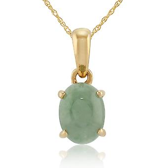 Classic Oval Jade Cabochon Pendant Necklace in 9ct Yellow Gold 25356