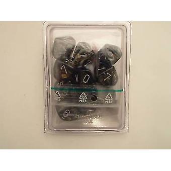 Chessex 10 x D10 Dice Set - Leaf Black Gold/silver