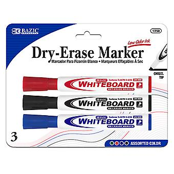 1250-144, BAZIC Assorted Color Chisel Tip Dry-Erase Markers (3/Pack) Case of 144