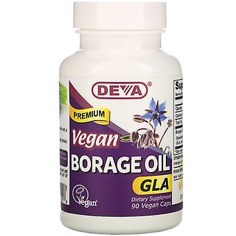 Deva, Premium Vegan Borage Oil, GLA, 90 Vegan Caps
