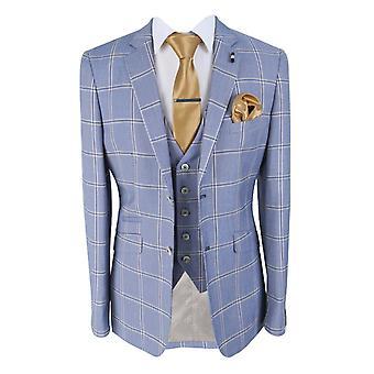 Men's Paradise Sky Blue Check Three Piece Suit from Cavani