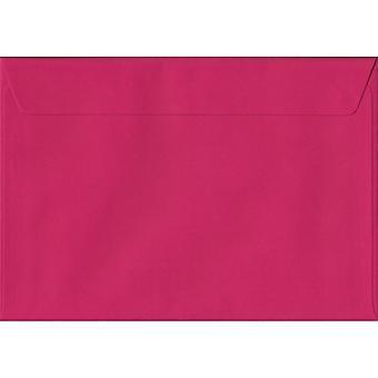 Fuchsia Pink skræl/segl C6/A6 farvet Pink konvolutter. 100gsm FSC bæredygtig papir. 114 mm x 162 mm. tegnebog stil kuvert.