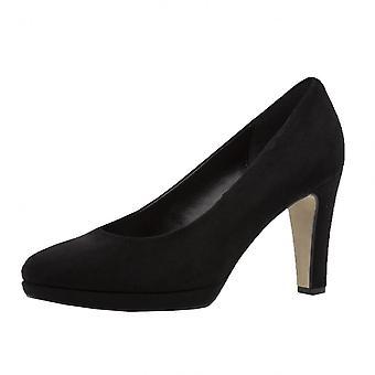 غابور رائع X الكلاسيكية الأحذية المحكمة منتصف الكعب في جلد الغزال الأسود (2.5-7.5)