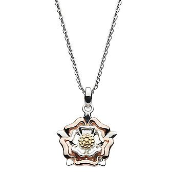 Heritage Sterling Silver Briar Tudor Rose With Gold Rose Gold Plate Pendant 9320GRG024
