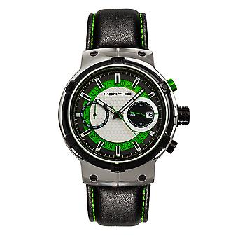 Morphic M91 Series Chronograph Leather-Band Watch w/Date - Silver/Green