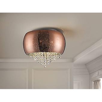 Schuller Caelum - 5 Licht Crystal Flush Plafond Licht Koper, G9