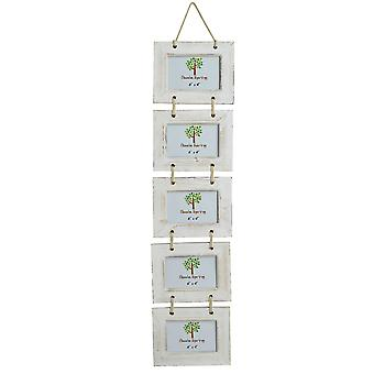 """Nicola Spring 5 Photo Blanc Wooden Hanging Picture Frame - 6 x 4"""" - Pack Of 2"""
