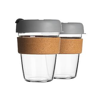2 Piece Reusable Travel Mugs Set - Glass Tea, Coffee Cups with Silicone Lid, Cork Sleeve - Eco-Friendly - 350ml - Grey