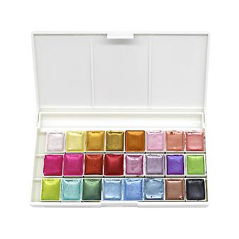 Pearl Glitter Watercolor Paint Set Portable Pigment Solid Palette