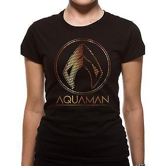 Aquaman Womens/Ladies filme símbolo metálico T-shirt