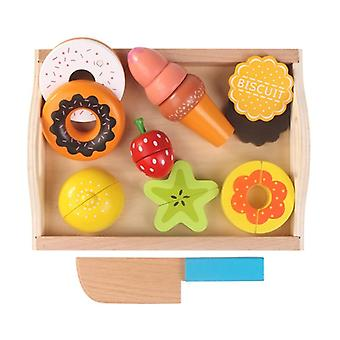Children's Kitchen Toys, Wooden Magnetic Cut Fruit Vegetables, Dessert