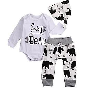 Baby Kläder Nyfödda Flicka Blommiga Kläder Jumpsuit Romper +svart Rose Byxor