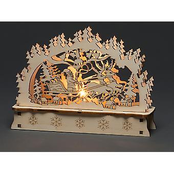 Konstsmide लकड़ी सिल्हूट जलाया सांता स्लेज 3237-100