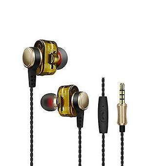 HiFi Dual Dynamic Driver Earphone 3.5mm Jack Stereo Bass Headphone with Mic