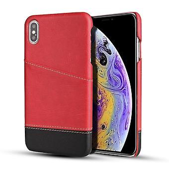 لفون X / XS ريترو ليتشي نسيج خياطة لون واقية حالة مع فتحات بطاقة (الأحمر)