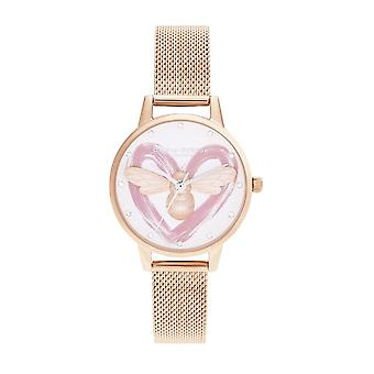 Olivia Burton Ob16fb01 You Have My Heart Lucky Bee, Silver et Rose Gold Mesh Ladies Watch