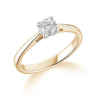 9K Yellow Gold Tapered Shank 4 Claw 0.20Ct Certified Solitaire Diamond Engagement Ring