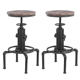 Metal Industrial Bar Taburete Altura Ajustable Swivel Pinewood Top Cocina Comedor