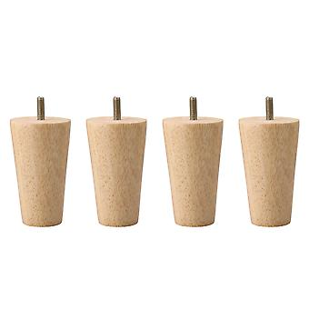 4 Pieces M8 Furniture Legs 10cm Wooden Taper Furniture Sofa Legs