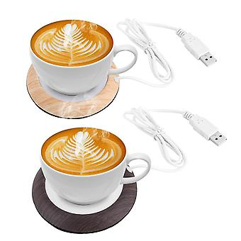 Wood Grain Cup Warmer Heat Beverage Cup Heater Mat Keep