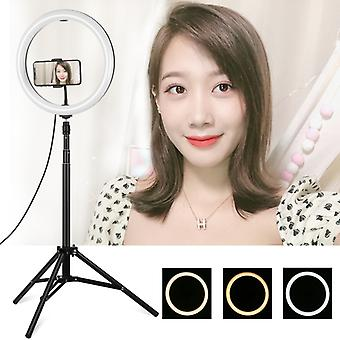 PULUZ 1.65m Tripod Mount +  11.8 inch 30cm Curved Surface USB 3 Modes Dimmable Dual Color Temperature LED Ring Vlogging Video Light  Live Broadcast Ki