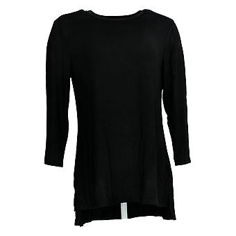 H By Halston Women's Top Essentials Crew Neck 3/4-Sleeve Black A367972