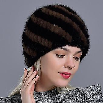 Natural Real Fur Knitted Cap