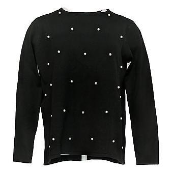 Attitudes by Renee Women's Pearl Long Slvs Crew Neck Sweater Black A372055