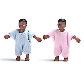 Dolls House Miniature 1:12 Scale People Twin Black Babies Little Baby Boy & Girl