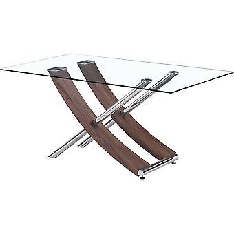 Mesa Diva en vidrio - 160 x 90 x 76 cm - Roble lacado