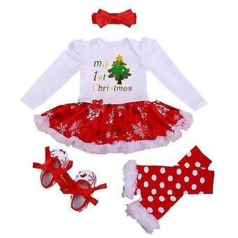 Vauvan mekko-tyylinen romper, kengät, sukat ja panta asettaa, minun 1st joulu