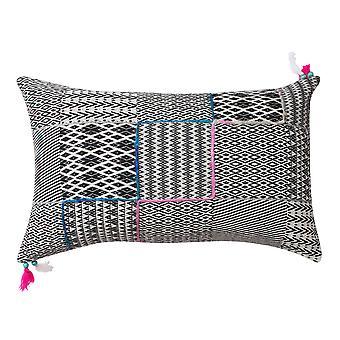 20 x 12 almohada de acento de algodón tejida a mano con estampado Jacquard, negro y gris