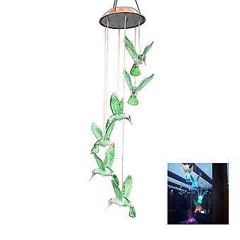 Kleurveranderende led zonne kolibrie wind chime led licht voor tuin decor
