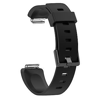 Για Fitbit εμπνέει/εμπνέει hr γυαλιστερή επιφάνεια σιλικόνη αντικατάστασης ιμάντα βραχιολιών ρολόι, μέγεθος: S (μαύρο)