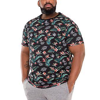 Duke D555 Mens Keating Big Tall King Size Hawaiian T-Shirt Tee Top - Black