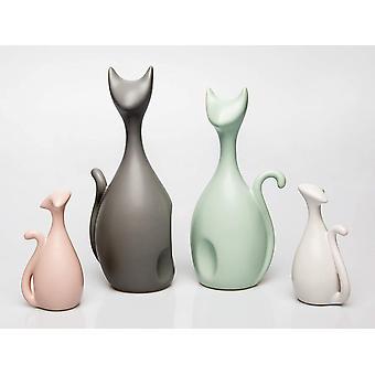 APHACATOP Set aus 4 Katzen-Skulpturen Katzen-Figuren modernes Design Keramik Bunt (Bunt)