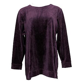 Denim & Co. Women's Velour Long Sleeve Tunic Pockets Purple A390299