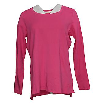 إسحاق مزراحي لايف! Women's Top Essentials Cotton Hi-Low Hem Pink A389762